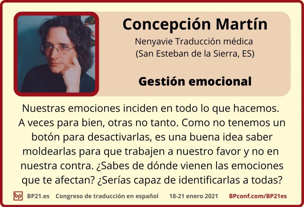 Conferencia de traducción en espanol BP21.es :: Concepción Martin :  Gestion emocional