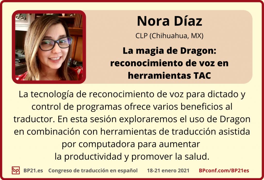 Conferencia de traducción en espanol BP21.es :: Nora Díaz : Reconocimiento de voz en herramientas TAO