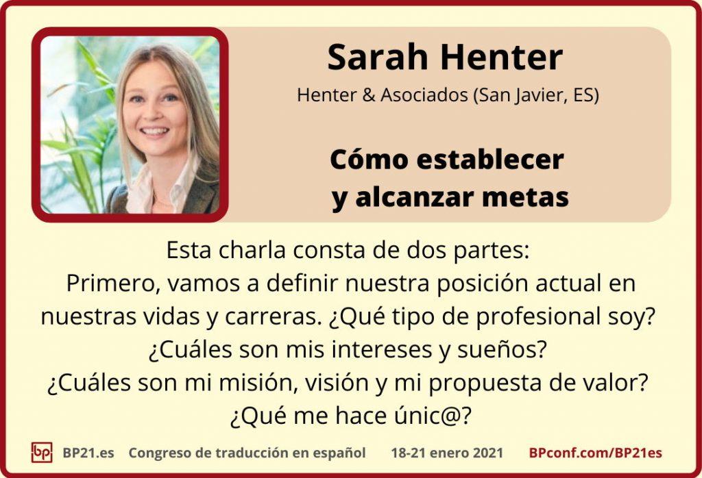Conferencia de traducción en espanol BP21.es :: Sarah Henter :: Taller metas