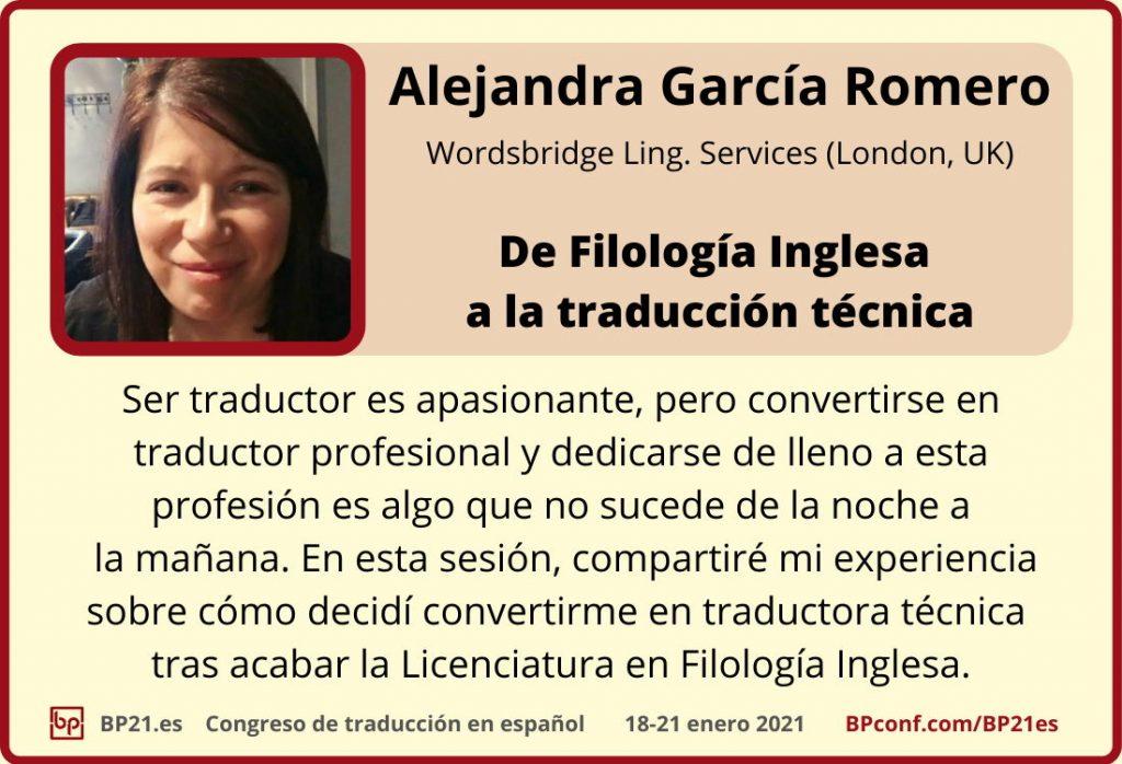 Conferencia de traducción en espanol BP21.es :: Alejandra García Romero :: Traductora técnica